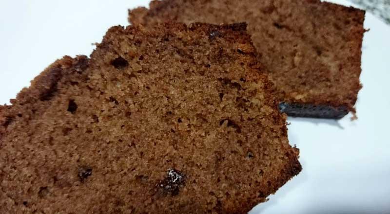 receta de bizcocho de plátano y chocolate sin azúcar
