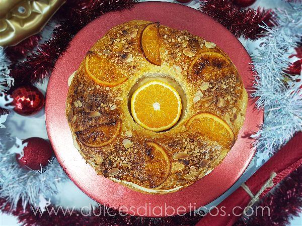 Roscon de reyes sin azucar con naranjas