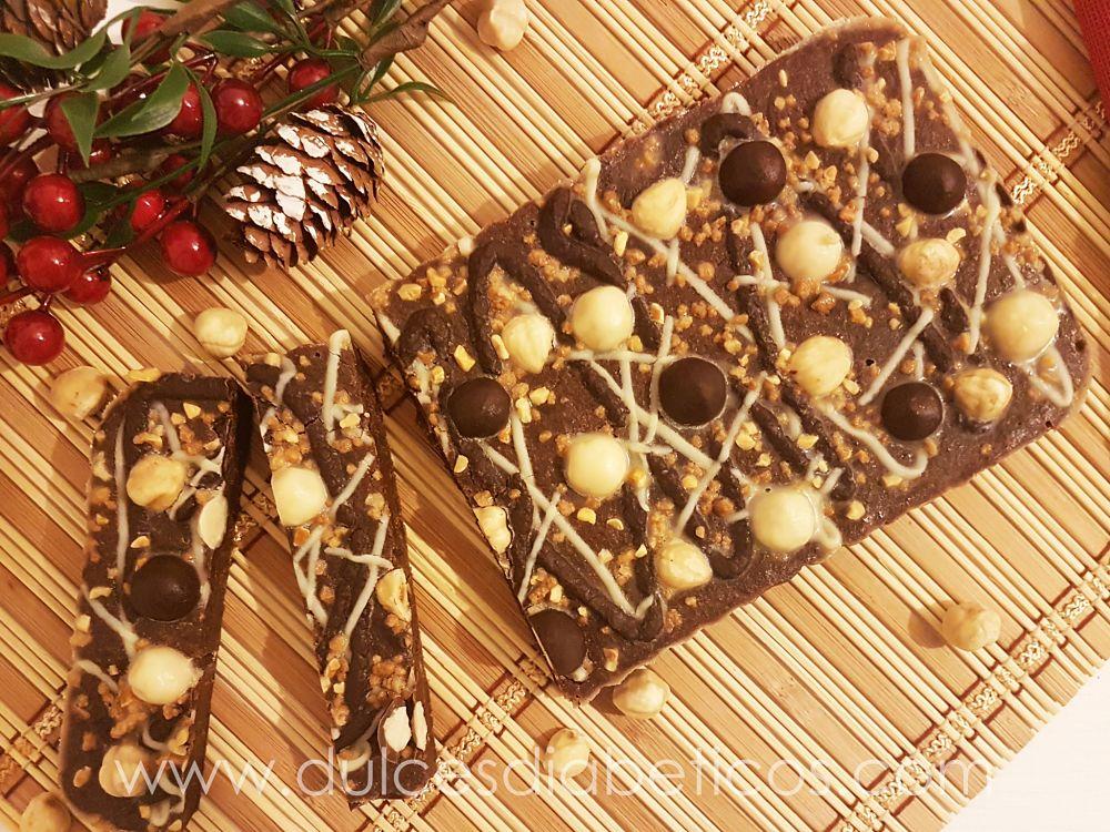 Turron de chocolate y praline de avellanas sin azucar