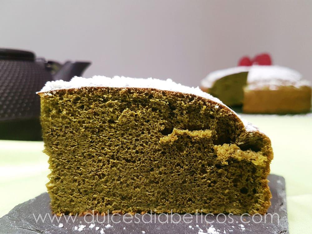 Bizcocho de te verde sin azucar esponjoso
