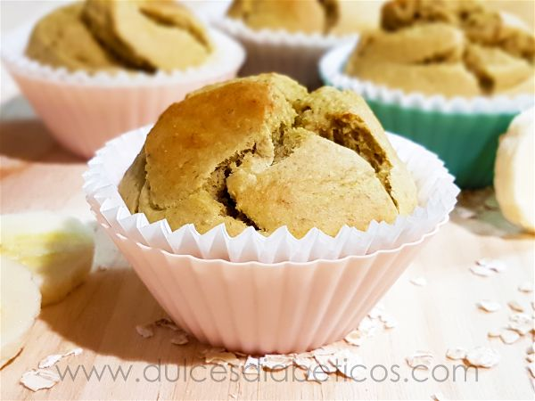 Muffins de avena y platano saludables