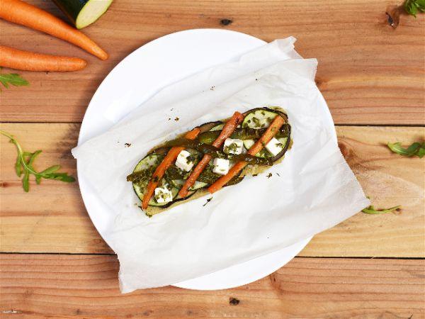 Papillote vegano de seitan con verduras