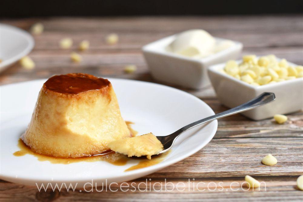 Flan de queso y chocolate blanco sin azucar