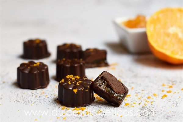 Bombones de chocolate y naranja sin azucar